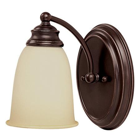 Capital Lighting One Light Bath Vanity, Mediterranean Bronze Finish with Warm Faux Alabaster (Mediterranean 1 Light Wall)