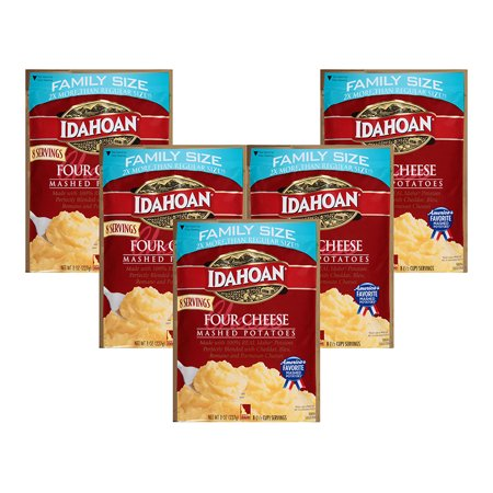 (5 Pack) Idahoan Four Cheese Mashed Potatoes Family Size Pouch, 8 1/2 Cup