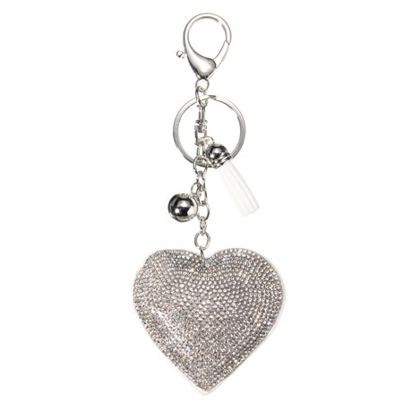 Heart Pendant Key Charm Chain Faux Crystal Key Charms Rhinestone Keyring Purse Car Alloy Keyfob White Car Key Chain Dvr