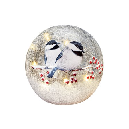 Chickadee Glass - Lighted Winter Chickadee Tabletop Crackled Glass Ball Décor, Small