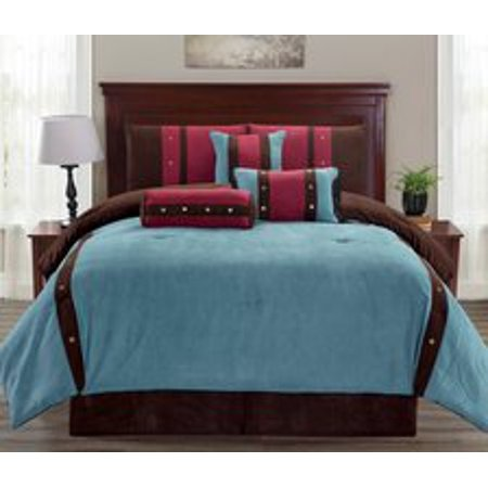 Legacy Decor 7 pc Micro Suede Teal, Brown and Burgundy Striped Comforter  Set with Button Accents, Queen Size