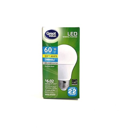 Great Value LED General Purpose Bulb, 10W, Soft White 10w Frosted White Socket
