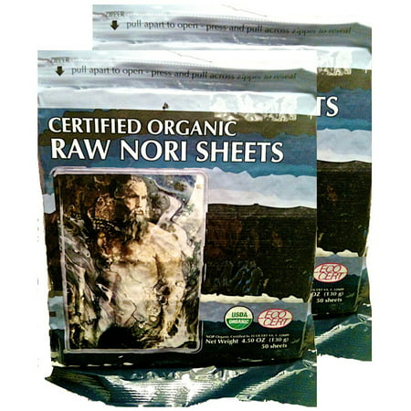 Raw Organic Nori 100 Sheets Pack Vegan Certified Kosher Sushi Wrap Papers Unheated, Not Cooked or Toasted Seaweed