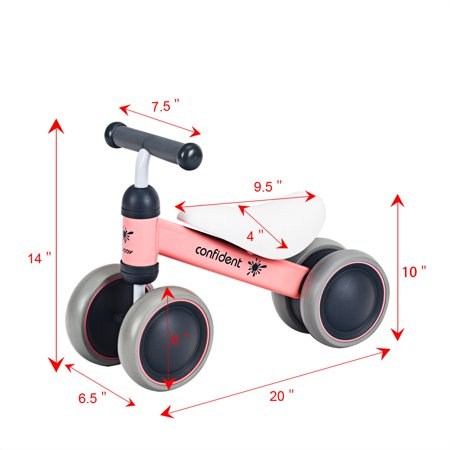 e03333f21b5 4 Wheels Kids Balance Bikes No Pedal Children Walker Toys 18-36 Months Pink  ...