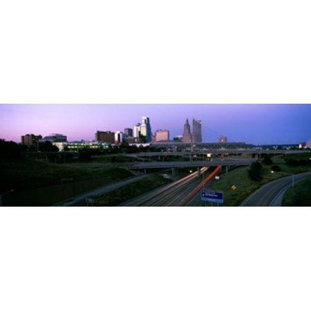 Highway interchange and skyline at sunset Kansas City Missouri USA Stretched Canvas - Panoramic Images (18 x 6) - Party City Highway 6