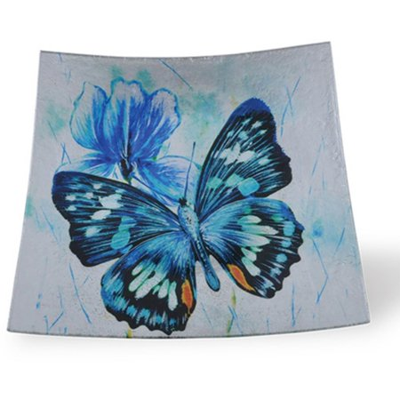 Border Concepts 14 in. Square Indigo Butterfly Glass Plate
