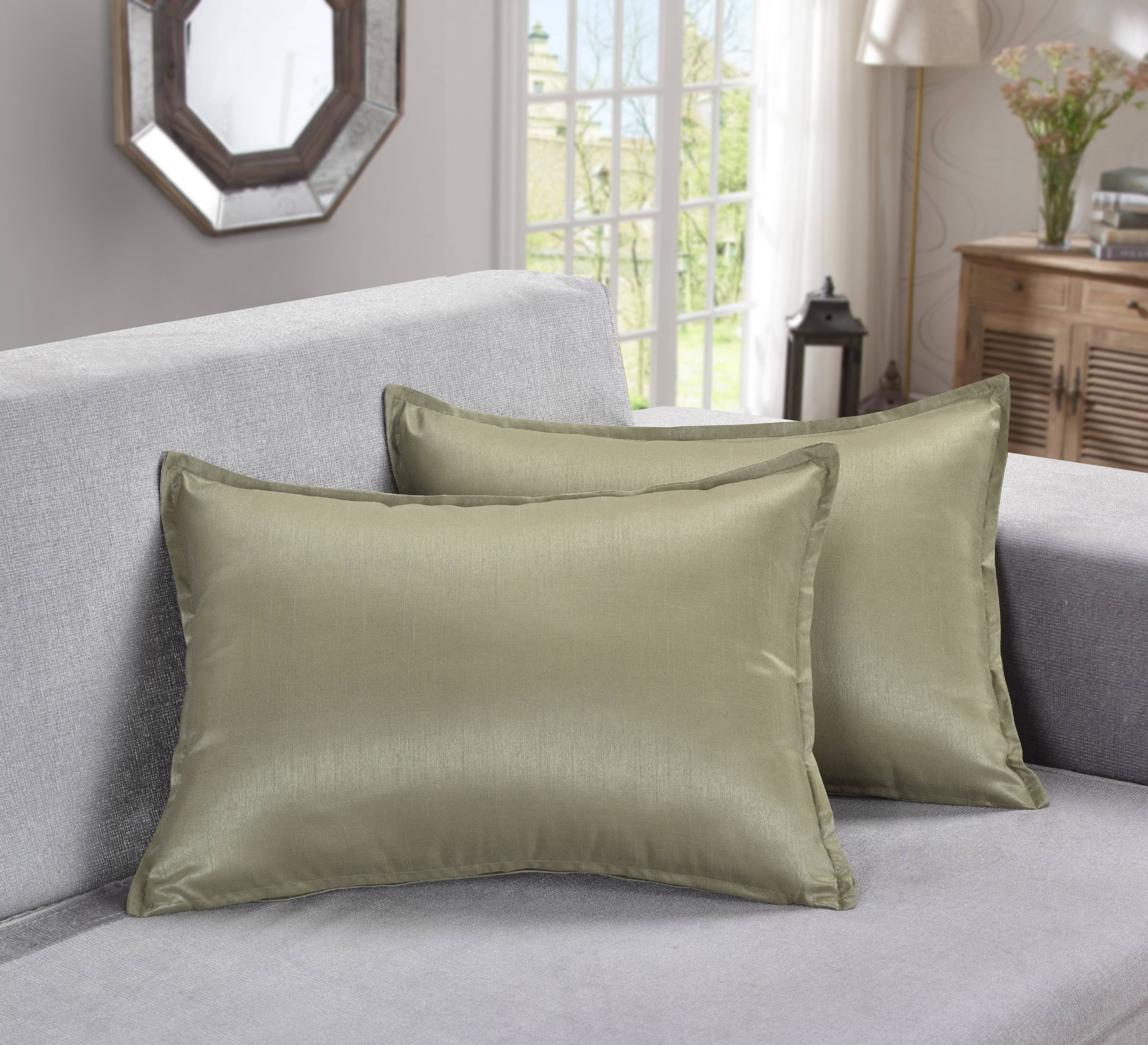 "Aiking Home 2 Pieces of 12""x18"" Solid Faux Silk Throw Pillow COVERs , Sage"