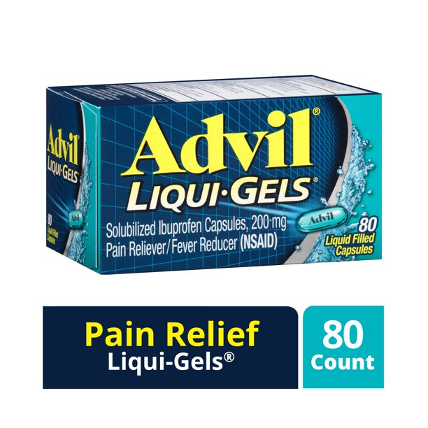 Advil Liqui-Gels Pain Reliever and Fever Reducer, Solubilized Ibuprofen 200mg, 80 Count, Liquid Fast Pain Relief