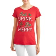 womens christmas holiday graphic short sleeve t shirt