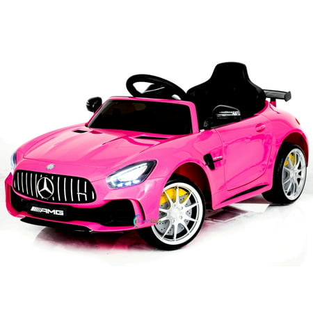 Electric power 12V Mercedes GTR ride on car for Kids for girls with Remote Control Opening doors LED lights MP3 - Pink
