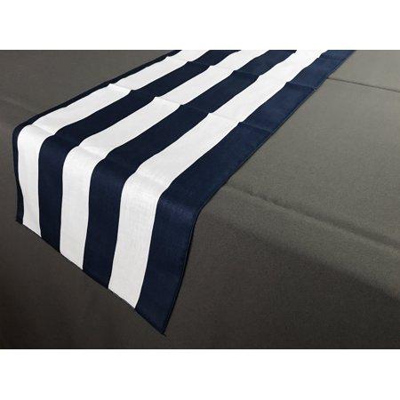 Satin Stripe Table Runner 2 Inch Navy And White