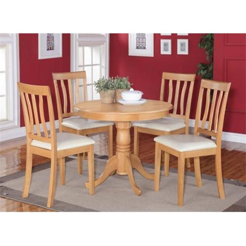 Wooden Imports Furniture AN3-OAK-LC 3 PC Antique Round Kitchen 36 inch Table and 2 Chairs with Faux Leather seat in Oak
