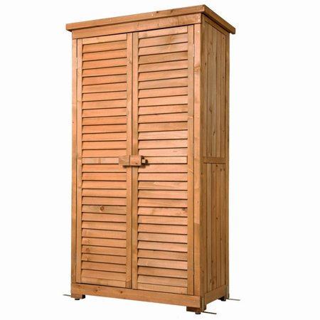 Outdoor Garden Wood Storage Cabinet Waterproof Tool Shed Blinds Lockers Nature
