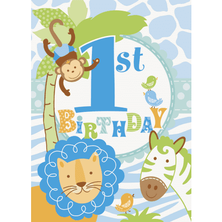 1st Birthday Blue Safari 8 Invitations with Envelopes Animals Monkey - Safari Themed Invitations
