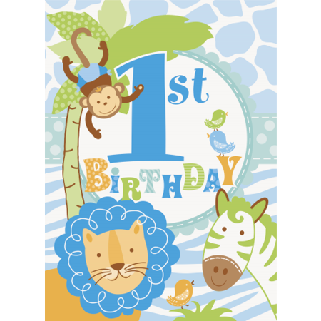 1st Birthday Blue Safari 8 Invitations with Envelopes Animals Monkey (Monkey Invitations)