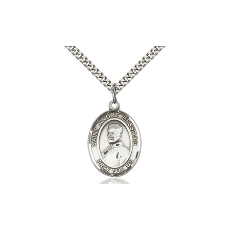 Sterling Silver Saint St  Re Bessette Medal Pendant 1 X 3 4 Patron Saints On A 24 Inch Stainless Silver Curb Chain Necklace Gift Boxed