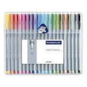 Staedtler STD334SB20A6 Triplus Fineliner Pens, .3mm, Metal Clad Tip, Pack of 20, Assorted Colors