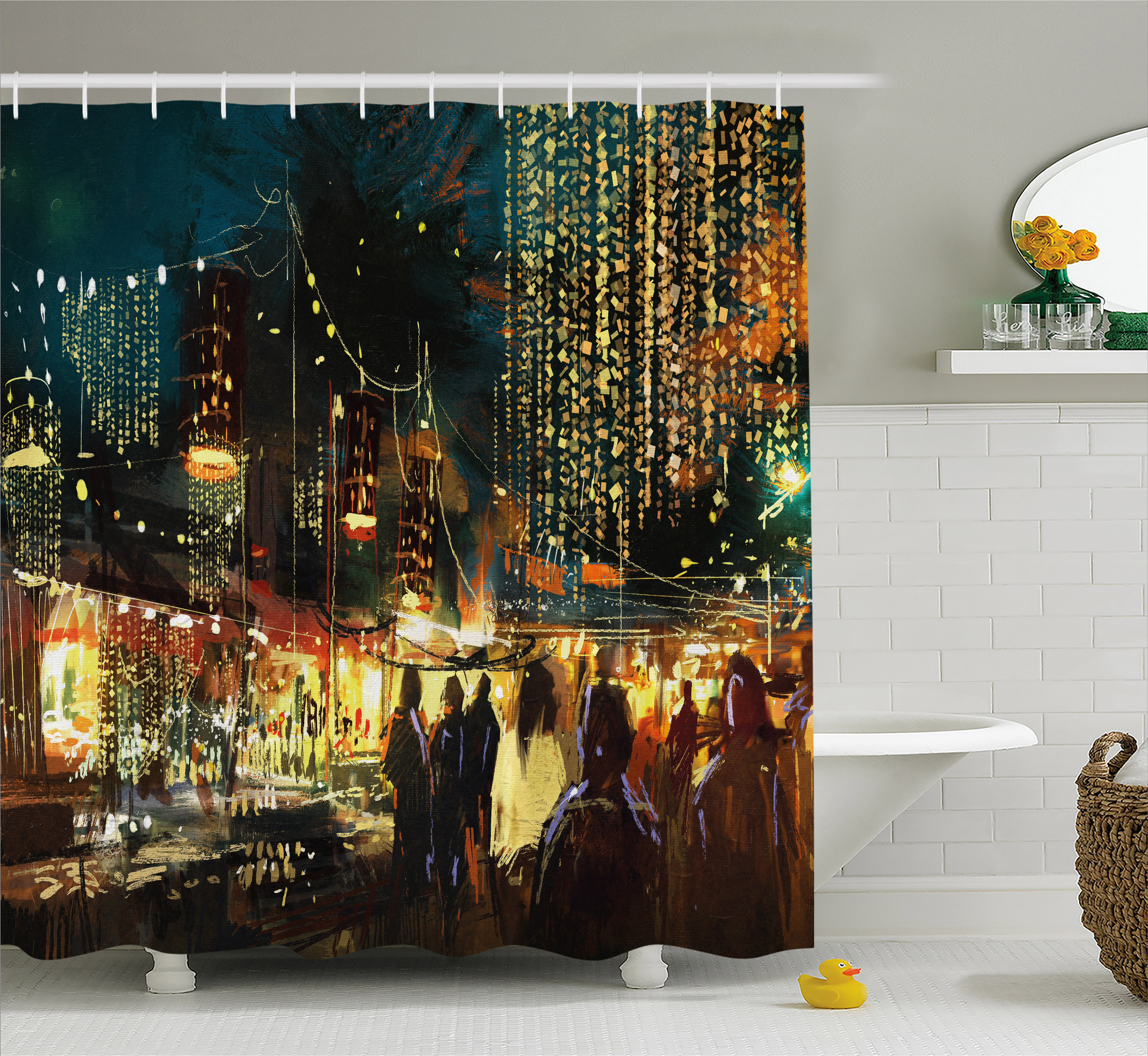 Night Shower Curtain, Painting of Shopping Street City with Colorful Nightlife Abstract Brushstrokes Art, Fabric Bathroom Set with Hooks, 69W X 75L Inches Long, Multicolor, by Ambesonne