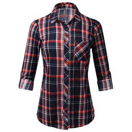 FashionOutfit Women's Casual Lightweight Roll Up Sleeve Checker Button Down Shirt
