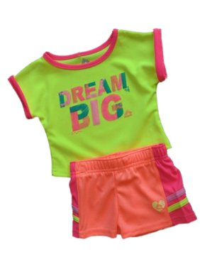RBX Toddler Girls 2 PC Neon Dream Big Shirt & Mesh Shorts Active Set
