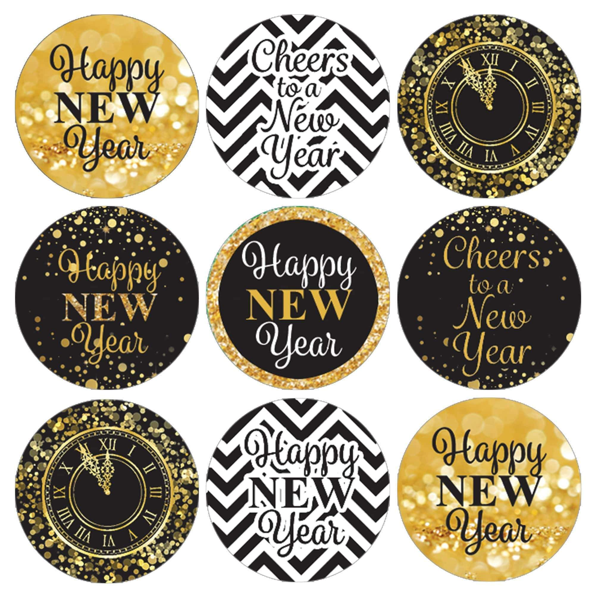 Black and Gold New Year's Eve Kiss Party Stickers - 180 ...