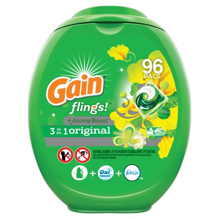 Gain Flings Original, Laundry Detergent Pacs, 96