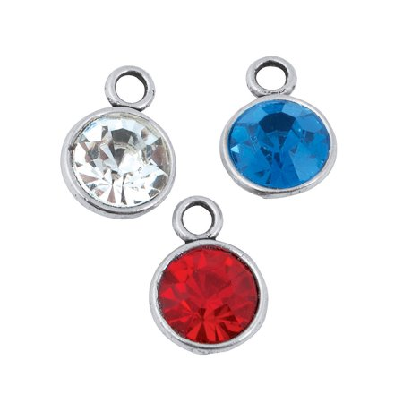 Fun Express - Patriotic Rhinestone Charms for Fourth of July - Craft Supplies - Adult Beading - Charms - Fourth of July - 12 (4th Of July Crafts For 2 Year Olds)