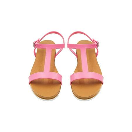 Sara Z Ladies PCU Sandal with Side Buckle 11 Mid Pink ()