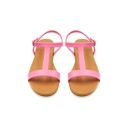 Side Buckle Sandal - Sara Z Ladies PCU Sandal with Side Buckle 11 Mid Pink