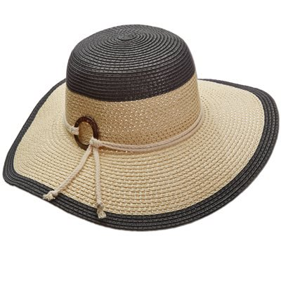 Panama Jack Women's Two-Tone Paper Braid Packable Sun Hat, 4