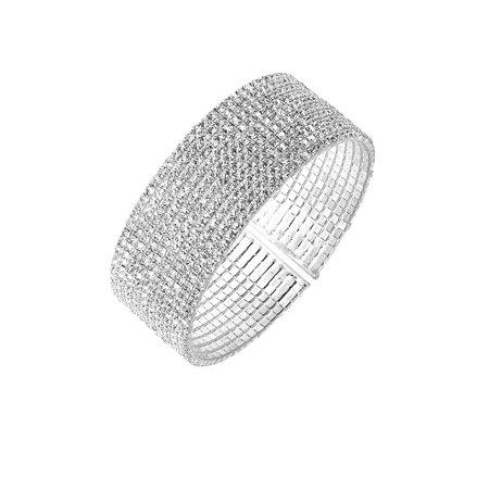Crystal Wide Cuff Bracelet Section Crystal Bracelet