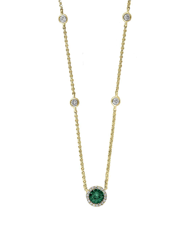 Diamonds, Emerald and 14K Yellow Gold Circle Pendant Necklace