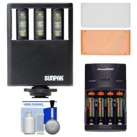 Sunpak Ultra Slim LED 9 Video Light with 2 Diffusers +  AAA