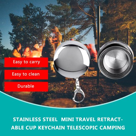 Stainless Steel Mini Travel Retractable Cup Keychain Telescopic Camping - image 4 of 10