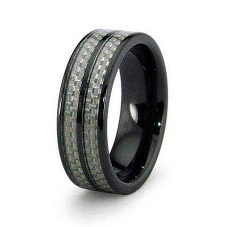 Ewc R40004 100 Ceramic Ring With Carbon Fiber Inlay 8Mm   Size 10
