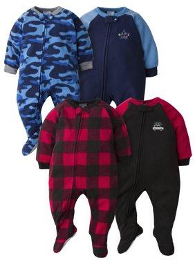 Gerber Baby Boys & Toddler Boys Microfleece Blanket Sleeper Pajamas, 4-Pack, Sizes 0/3M-5T