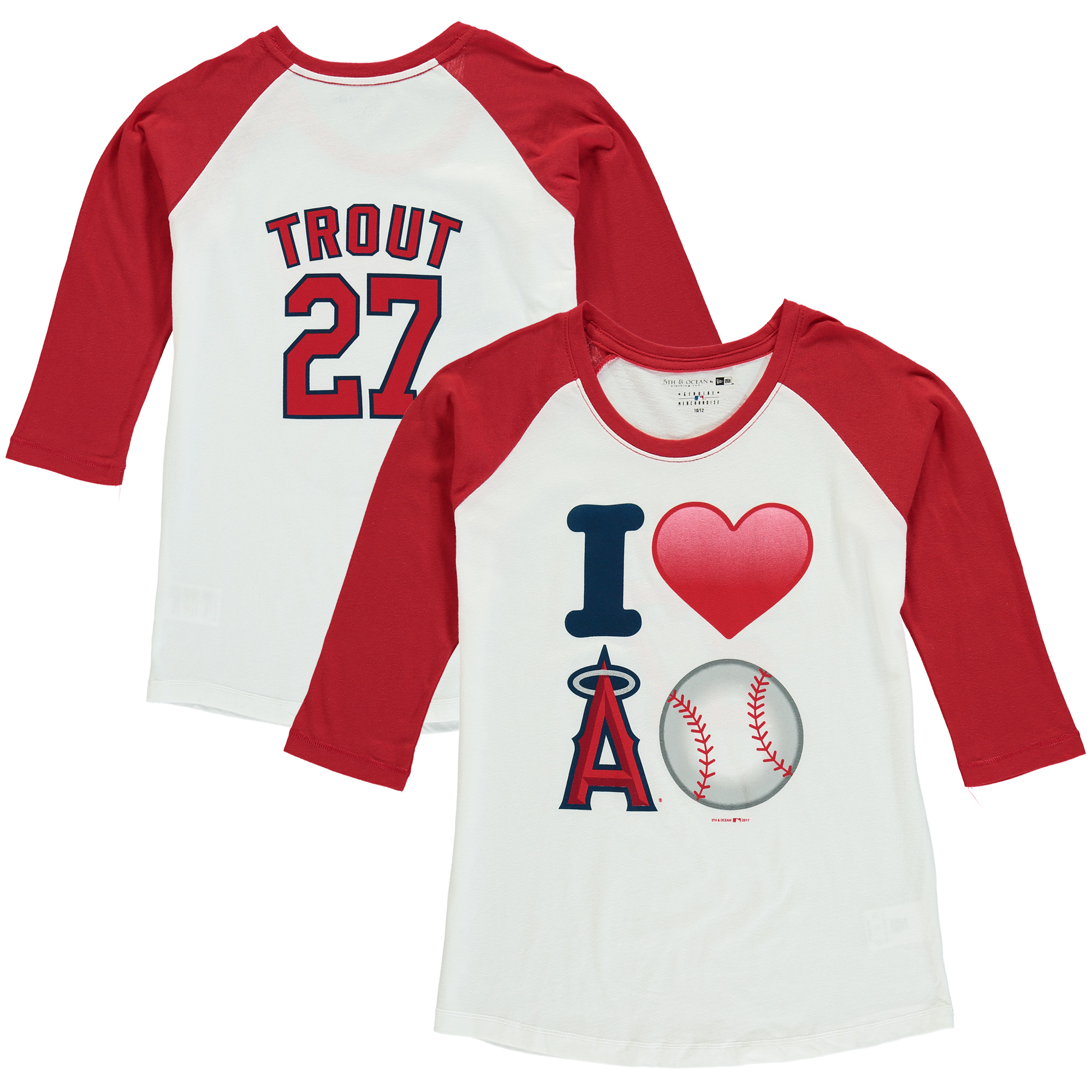 Mike Trout Los Angeles Angels 5th & Ocean by New Era Girls Youth Emoji Love Player Name & Number 3/4-Sleeve Raglan T-Shirt - White/Red