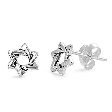 7mm Star Stud Earrings (Star of David (jewish Star) Stud Earrings Sterling Silver -)