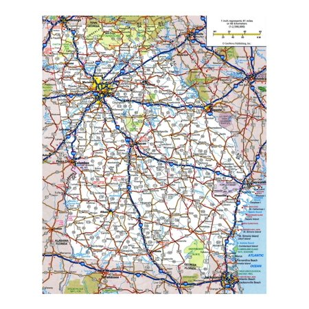 Laminated Map - Large detailed roads and highways map of Georgia state Poster 24 x 36 ()