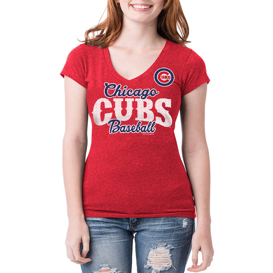 Chicago Cubs Womens Short Sleeve Team Color Graphic Tee