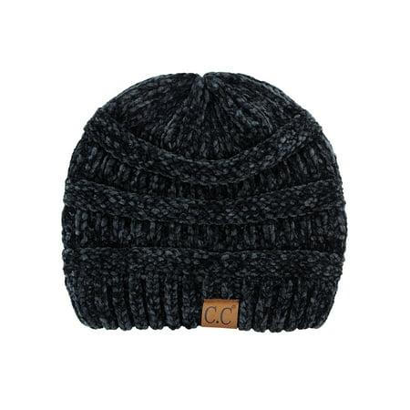 6e502d5c96b NYFASHION101 - C.C Women s Chenille Soft Warm Thick Knit Beanie Cap Hat-Black  - Walmart.com