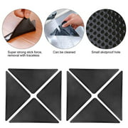 Rug Grippers for Hardwood Floors, Carpet Gripper for Area Rugs Double Sided Anti Curling Non-Slip Washable and Reusable Pads for Tile Floors, Carpets, Floor Mats, Wall, Black 8 pcs