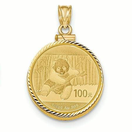 0.25 Ounce Panda Coin - 14K Yellow Gold 0.25 oz Mounted Panda Coin Screw Top Coin Bezel Pendant