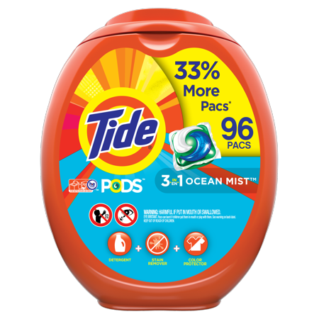 Tide PODS Liquid Laundry Detergent Pacs, Clean Breeze, 96 count (Packaging May