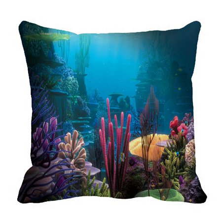 ZKGK Underwater World Sea Life Ocean Animals Fish Coral Pillowcase Home Decor Pillow Cover Case Cushion Two Sides 18x18 Inches