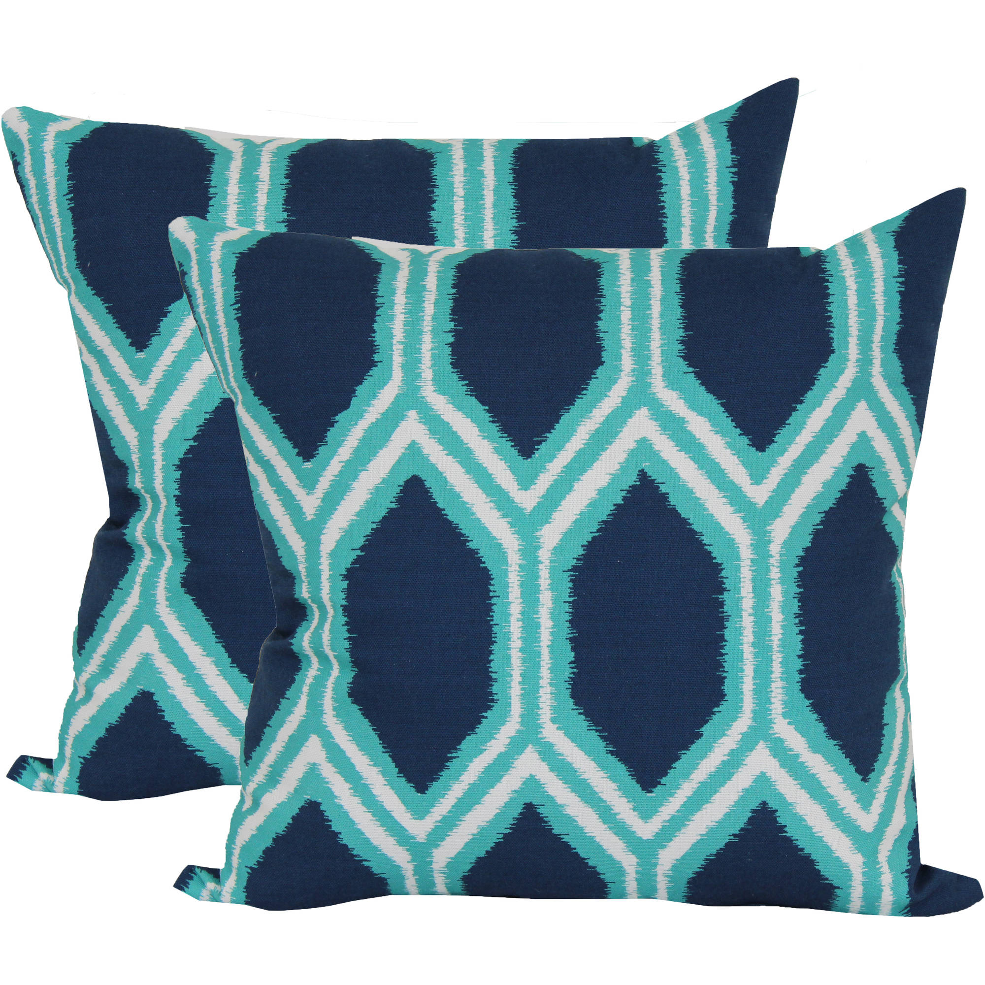 Mainstays Honeycomb Blue Outdoor Toss Pillow, 2 Pack