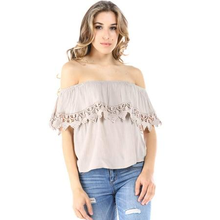 008c1bfc96 Ambiance - Salt Tree Women's Linen Crochet Insert Off The Shoulder ...