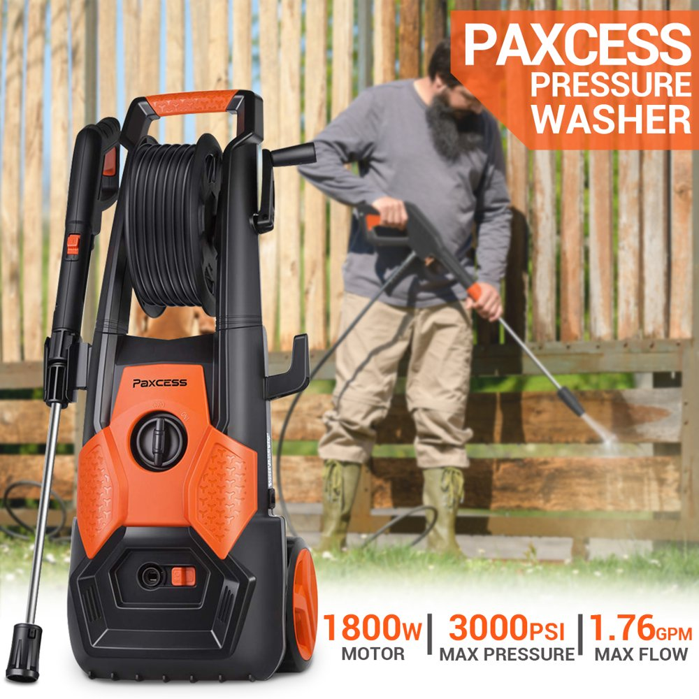 2150 PSI Pressure Washer 1.85GPM Electric Pressure Washer with Spray Gun, Adjustable Nozzle,26ft High Pressure Hose, Hose Reel, for car/Vehicle/Floor/Wall/Furniture/Outdoor (CSA Approved)