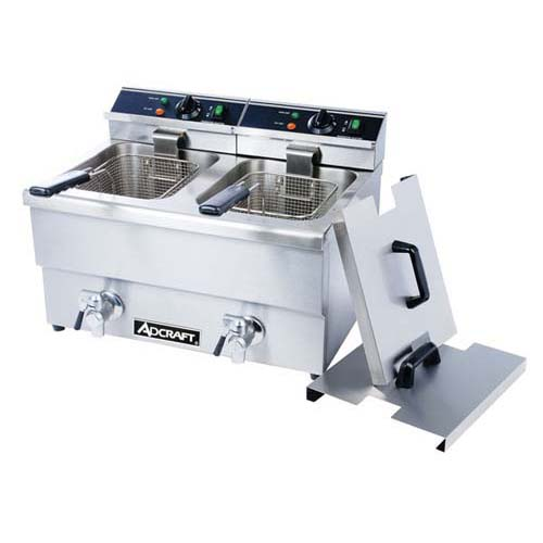 AdCraft Stainless Steel 208V Dual Basket Deep Fryer With Faucet DF-12L2