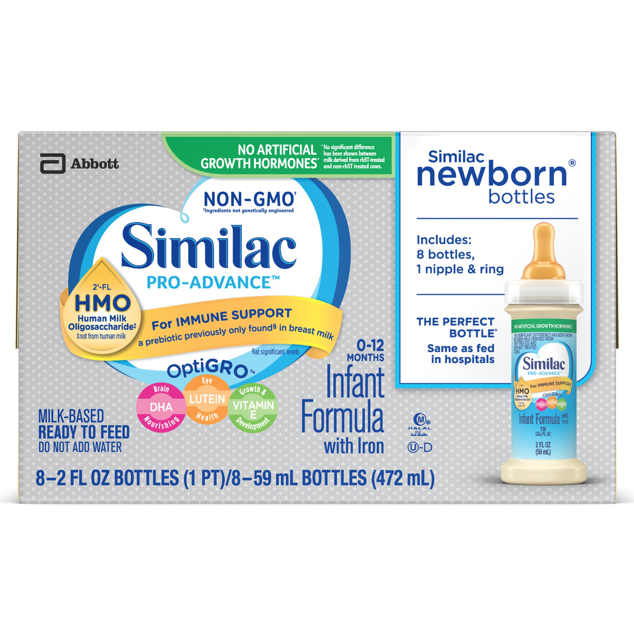 Similac Pro-Advance Infant Formula with 2'-FL Human Milk Oligosaccharide (HMO) for Immune Support, Ready to Feed, 2 fl oz. (1 box of 8 bottles)